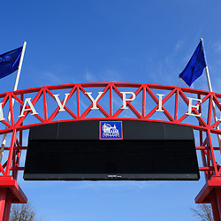 Navy Pier sign in Chicago. Navy Pier was built in 1916 and is a popular attraction along Lake Michigan with restaurants, rides, and a children's museum.