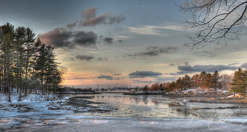 Wintry view of Shipyard and Back Channel from New Castle, NH