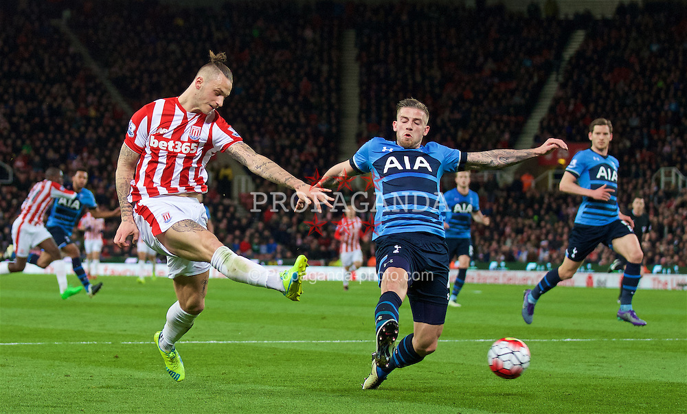 STOKE-ON-TRENT, ENGLAND - Monday, April 18, 2016: Stoke City's Marko Arnautovic during the FA Premier League match against Tottenham Hotspur at the Britannia Stadium. (Pic by David Rawcliffe/Propaganda)