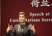 "BEIJING, CHINA - NOVEMBER 26: (CHINA OUT) <br /> <br /> H.M Queen Maxima Of Netherland Delivers A Speech At Peking University<br /> <br /> H.M Queen Maxima (L4) Of Netherland arrives at Peking University for a speech about General's Special Advocate for Inclusive Finance for Development on November 26, 2014 in Beijing, China. H.M Queen Maxima Of Netherland visited China as the representative of the United Nations Secretary General's Special Advocate for Inclusive Finance for Development. General's Special Advocate for Inclusive Finance for Development is also known as Inclusive Finance and themed as ""Provinding efficient and full financial services for the social"". <br /> ©Exclusivepix"
