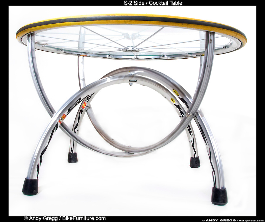 S-2 Cocktail Table handcrafted from high-end aluminum rims and tire.