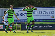Forest Green Rovers Keanu Marsh-Brown(7) scores a goal 1-0 and celebrates during the Vanarama National League match between Forest Green Rovers and Maidstone United at the New Lawn, Forest Green, United Kingdom on 22 April 2017. Photo by Shane Healey.