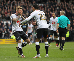 Johnny Russell of Derby County (L) celebrates scoring his sides fourth goal - Mandatory by-line: Jack Phillips/JMP - 09/04/2016 - FOOTBALL - iPro Stadium - Derby, England - Derby County v Bolton Wanderers - Sky Bet Championship