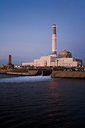 Tel Aviv power plant at dusk, was closed down in March 2006 to convert it to work with natural gas to reduce pollution