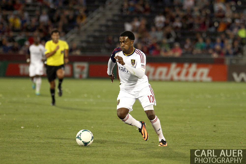 August 3rd, 2013 - Real Salt Lake forward Robbie Findley (10) dribbles the ball up the field in the first half of action in the Major League Soccer match between Real Salt Lake and the Colorado Rapids at Dick's Sporting Goods Park in Commerce City, CO