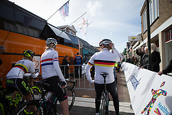 The national champions chat before the start of Stage 1b of the Healthy Ageing Tour - a 77.6 km road race, starting and finishing in Grijpskerk on April 5, 2017, in Groeningen, Netherlands.