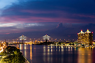 Dusk on the Savannah River with the Talmadge Memorial Bridge
