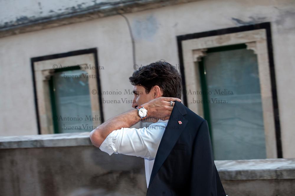 L'arrivo di Justin Pierre James Trudeau, Premier canadese, al concerto organizzato al Teatro Greco di Taormina per il summit G7.