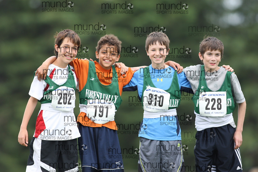 (Ottawa, Ontario---20/06/09)   Jonathon Lemieux (202);  Jordan Larocque (191);  Daniel Soucy (310); and  Alex May (228)\ competing in the faces at the 2009 Bank of America All-Champions Elementary School Track and Field Championship. www.mundosportimages.com / www.msievents.