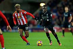 SUNDERLAND, ENGLAND - Monday, January 2, 2017: Liverpool's Sadio Mane in action against Sunderland's Didier N'Dong during the FA Premier League match at the Stadium of Light. (Pic by David Rawcliffe/Propaganda)