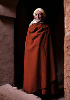 AIT BEN HADDOU, MOROCCO - CIRCA MAY 2018: Moroccan man wearing traditional closes at the Ksar Ait Ben Haddou
