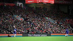 The hoardings showing support for the Stonewall Rainbow Laces campaign for LGBT inclusion during the Premier League match at Anfield, Liverpool.