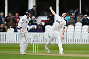 Craig Overton of Somerset bowling during the third day of the Specsavers County Champ Div 1 match between Somerset County Cricket Club and Yorkshire County Cricket Club at the Cooper Associates County Ground, Taunton, United Kingdom on 29 April 2018. Picture by Graham Hunt.