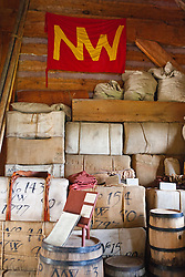 Goods stacked inside the North West Company Warehouse, Grand Portage National Monument, Grand Portage, Minnesota, United States of America