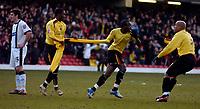 Photo: Alan Crowhurst.<br />Watford v Derby County. Coca Cola Championship. 04/03/2006. Al Bangura (C) of Watford celebrates his late equaliser.