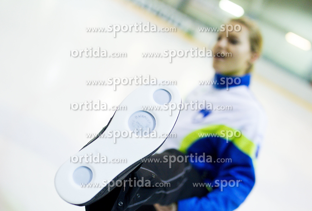 Petra Klemenc showing special shoes for curling during a training session of Team Slovenia Women Curling team for 2013 European Women's Curling Championships in Norway on November 18, 2013 in Arena Zalog, Ljubljana, Slovenia.  Photo by Vid Ponikvar / Sportida
