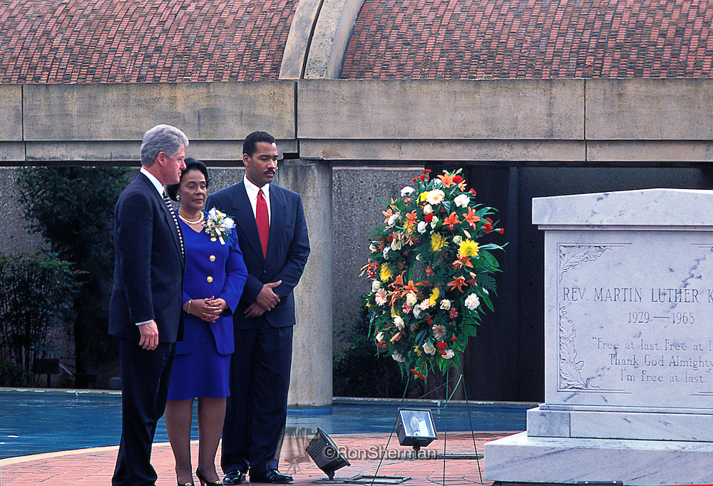 President Bill Clinton, Coretta Scott King and son, Dexter King at 1996 ML King Birthday celebration and wreath laying at King Center in Atlanta, GA