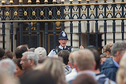 © licensed to London News Pictures. London, UK 23/07/2013. Police officers trying to keep the order as members of the public gathering outside Buckingham Palace after the birth of the son of The Duke and Duchess of Cambridge on Tuesday, July 23, 2013 in London. Photo credit: Tolga Akmen/LNP