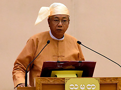 Newly-elected president of Myanmar U Htin Kyaw gives a speech after taking the oath at the Union Parliament in Nay Pyi Taw, Myanmar, March 30, 2016. EXPA Pictures © 2016, PhotoCredit: EXPA/ Photoshot/ MOI<br /> <br /> *****ATTENTION - for AUT, SLO, CRO, SRB, BIH, MAZ, SUI only*****