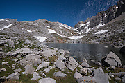 Lloroza lake and Horcados Rojos route above Fuente De, Picos de Europa National Park, Cantabria <br /> , Spain