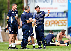 Bristol Rovers Manager Darrell Clarke chats to his coaching staff at full time of the preseason friendly at Exeter City ahead of the Sly Bet League One season - Mandatory by-line: Robbie Stephenson/JMP - 16/07/2016 - FOOTBALL - St James Park - Exeter, England - Exeter City v Bristol Rovers - Pre-season friendly