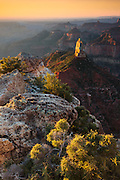 Sunrise on Mount Hayden, as viewed from Point Imperial on the North Rim of Grand Canyon National Park.