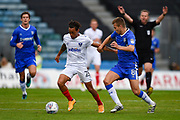 Portsmouth midfielder Kyle Bennett (23) and Gillingham FC midfielder Jake Hessenthaler (8) during the EFL Sky Bet League 1 match between Gillingham and Portsmouth at the MEMS Priestfield Stadium, Gillingham, England on 8 October 2017. Photo by Martin Cole.