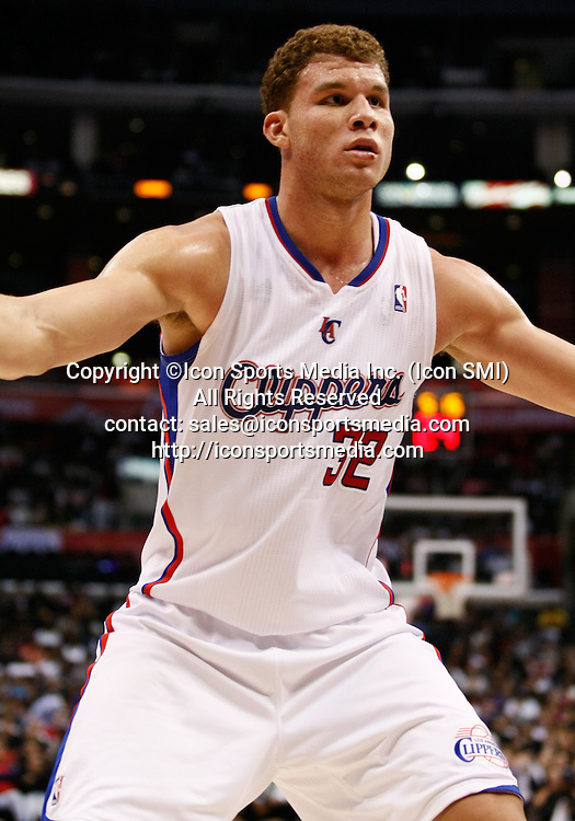 Los Angeles, CA - November 1, 2010: Los Angeles Clippers power forward Blake Griffin (32) in action at the Staples Center on November 1, 2010 in Los Angeles, CA as the Los Angeles Clippers took on the visiting San Antonio Spurs in a NBA regular season game. San Antonio won by a score of 97-88.