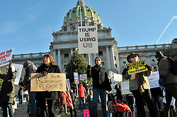 Protestors gather at the State Capitol steps in anticipation of members of the Electoral College, in Harrisburg, PA, on Dec. 19th, 2016