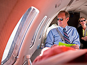 31 OCTOBER 2010 - WINDOW ROCK, AZ:    Terry Goddard looks out the window of the plane during the flight to Window Rock. Goddard, and the other Democrats on the statewide ticket, campaigned in Window Rock and Kingman on Halloween. Goddard ended the day with a press conference in front of the Executive Office Tower at the State Capitol in Phoenix.  Goddard lost the election to sitting Governor Jan Brewer, a conservative Republican.     PHOTO BY JACK KURTZ