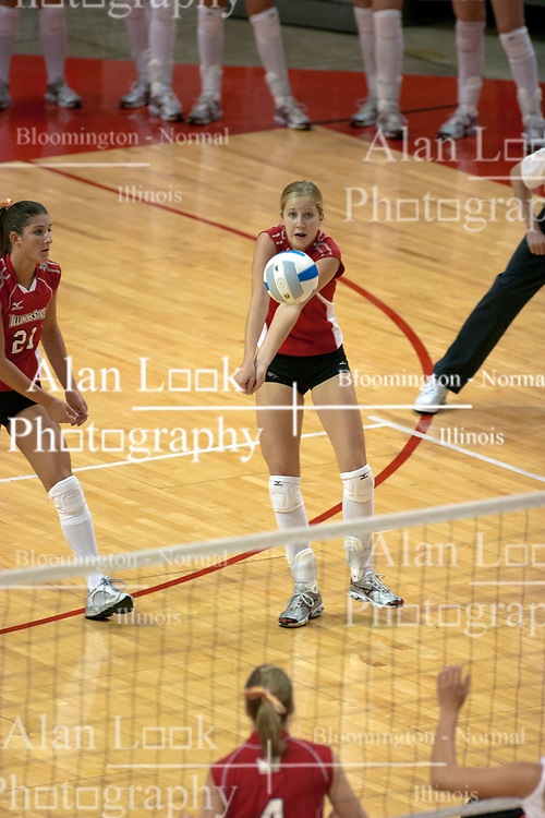 09 OCT 2005 Redbird Mary Catherine Richmond passes forward. The Illinois State University Redbirds hosted arch rival Bradley University Braves.  The Redbirds soared over the Braves, taking the match in 4 games, losing only game number 2.  Action included play by Braves Star Lindsey Stalzer who is ranked no. 7 in the nation in kills per game.  The first defeat of the conference season for the Braves took place at Redbird Arena on Illinois State's campus in Normal IL.