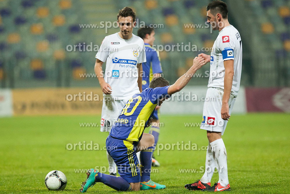 Agim Ibraimi #10 of Maribor and Ivica Guberac #7 of FC Luka Koper during football match between NK Maribor and FC Luka Koper in 20th Round of Slovenian First League PrvaLiga NZS 2012/31 on November 25, 2012 in Ljudski vrt, Maribor, Slovenia. (Photo By Gregor Krajncic / Sportida)