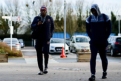Marcus Delpeche of Bristol Flyers and Raphell Thomas-Edwards of Bristol Flyers arrives at SGS College Arena prior to kick off - Photo mandatory by-line: Ryan Hiscott/JMP - 16/02/2020 - BASKETBALL - SGS College Arena - Bristol, England - Bristol Flyers v Solent Kestrels - British Basketball League Trophy semi-final