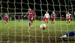 STEVENAGE, ENGLAND - Saturday, December 17, 2011: Tranmere Rovers' Joss Labadie scores a consolation goal from the penalty spot against Stevenage during the Football League One match at Broadhall Way. (Pic by David Rawcliffe/Propaganda)