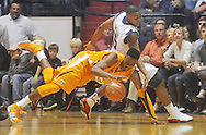 "Tennessee's Scotty Hopson (32) and Ole Miss guard Dundrecous Nelson (5) go for the ball at the C.M. ""Tad"" Smith Coliseum in Oxford, Miss. on Satursday, January 29, 2011.  (AP Photo/Oxford Eagle, Bruce Newman)"