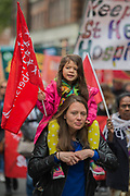Young and enthusiastic supporters - The May Day March from Clerkenwell Green ending with a rally in Trafalgar Square - against cuts and anti 'Trade Union laws.  It was supported by several trade unions including UNITE, PCS, ASLEF, RMT, TSSA, NUT, FBU, GMB and UNISON as well as the Peoples Assembly, Pensioners' organisations and organisations representing migrant workers & communities.
