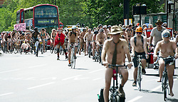 © London News Pictures. 09/06/2012. London, UK. Nude cyclists take to  the streets of London as part of the World Naked Bike Ride on June 9, 2012 to protest against oil dependency and car culture. The event takes place at various venues across the world.  Photo credit: LNP