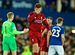 LIVERPOOL, ENGLAND - Sunday, March 3, 2019: Liverpool's captain Jordan Henderson looks dejected after the FA Premier League match between Everton FC and Liverpool FC, the 233rd Merseyside Derby, at Goodison Park. The game ended in a 0-0 draw. (Pic by Paul Greenwood/Propaganda)