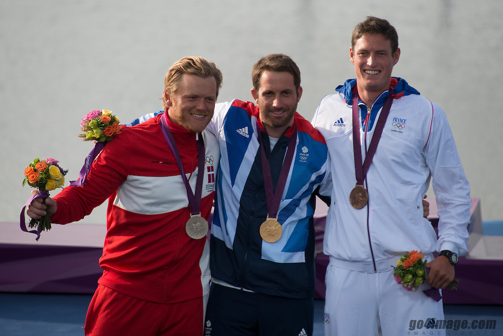 2012 Olympic Games London / Weymouth<br /> Medal Ceremony<br /> Hoegh-Christensen Jonas, (DEN, Finn)<br /> Ainslie Ben, (GBR, Finn)<br /> Lobert Jonathan, (FRA, Finn)