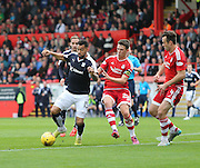 Dundee's Kane Hemmings takes on Aberdeen&rsquo;s Ryan Jack and Andrew Considine- Aberdeen v Dundee at Pittodrie<br /> - Ladbrokes Premiership<br /> <br />  - &copy; David Young - www.davidyoungphoto.co.uk - email: davidyoungphoto@gmail.com