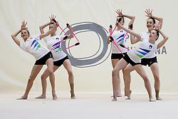 Team at practice of Slovenian Rhythmic Gymnastics Team before 36th European Rhythmic Gymnastics Championships in Budapest - Hungary, on May 15, 2017 in Gimnasticna dvorana, Ljubljana, Slovenia. Photo by Matic Klansek Velej / Sportida