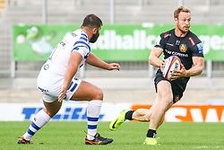 James Short, is marked by Will Vaughan - Ryan Hiscott/JMP - 09/09/2018 - RUGBY - Sandy Park - Exeter, England - Exeter Braves v Bath United, Premiership Rugby Shield