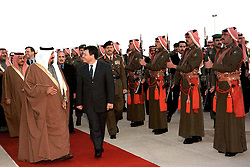 New Crown Prince Abdallah (or Abdullah) receives congratulations of Saudi Defence Minister Prince Sultan Bin Abdul Aziz Al Saud (left) in Amman, Jordan on January 28, 1999. Twenty years ago, end of January and early February 1999, the Kingdom of Jordan witnessed a change of power as the late King Hussein came back from the United States of America to change his Crown Prince, only two weeks before he passed away. Photo by Balkis Press/ABACAPRESS.COM