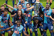 Wycombe Wanderers celebrates at full time winning the EFL Sky Bet League 1 Play Off Final match between Oxford United and Wycombe Wanderers at Wembley Stadium, London, England on 13 July 2020.