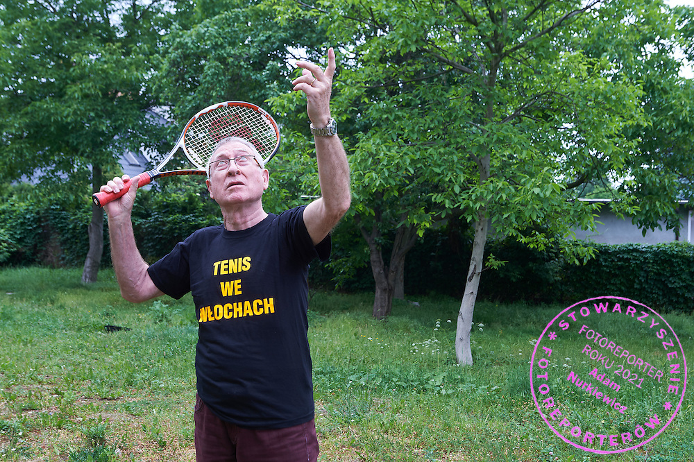 Jerzy Witkowski  is trying to raise funds to build tennis court at Wlochy district in Warsaw on June 15, 2015.<br /> <br /> Poland, Warsaw, June 15, 2015.<br /> <br /> Picture also available in RAW (NEF) or TIFF format on special request.<br /> <br /> For editorial use only. Any commercial or promotional use requires permission.<br /> <br /> Adam Nurkiewicz declares that he has no rights to the image of people at the photographs of his authorship.<br /> <br /> Mandatory credit:<br /> Photo by &copy; Adam Nurkiewicz / Mediasport