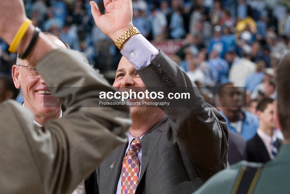 13 February 2007: Virginia Tech head coach Seth Greenberg after a 81-80 Virginia Tech Hokie overtime win over the North Carolina Tar Heels, in the Dean E. Smith Center in Chapel Hill, NC.