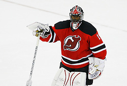 Nov 5, 2008; Newark, NJ, USA; New Jersey Devils goalie Kevin Weekes (1) skates off the ice after defeating the Tampa Bay Lightning at the Prudential Center. The Devils defeated the Lightning 4-3 in an OT shootout.