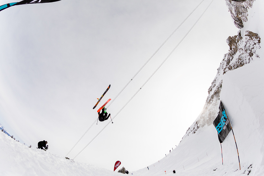 Sander Hadley losing a ski off of the bottom jump and almost taking the head off of cameraman Matt Hines.