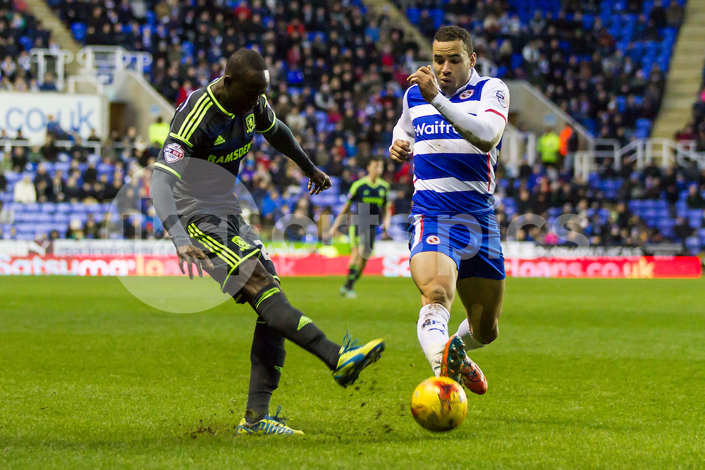 Albert Adomah of Middlesbrough cross is blocked during the Sky Bet Championship match between Reading and Middlesbrough at the Madejski Stadium, Reading, England on 10 January 2015. Photo by Gareth  Brown.