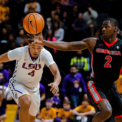 Jan 16, 2018; Baton Rouge, LA, USA; Georgia Bulldogs guard Jordan Harris (2) scrambles for a loose ball with LSU Tigers guard Skylar Mays (4) during the first half at the Pete Maravich Assembly Center. Mandatory Credit: Derick E. Hingle-USA TODAY Sports